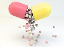 Apra la pillola con la droga dello spargimento Immagine Stock