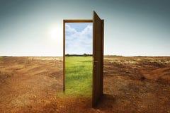 Apra la porta di legno al nuovo mondo con l'ambiente verde Fotografie Stock Libere da Diritti