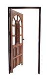 Apra la porta di legno sinistra isolata fotografia stock