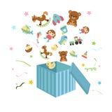 Apra la scatola con le icone del ` s dei bambini royalty illustrazione gratis