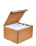 Apra la scatola di cartone Fotografie Stock Libere da Diritti