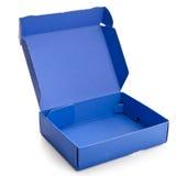 Apra la scatola di cartone blu Fotografia Stock