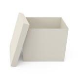 Apra la scatola di cartone isolata su bianco Fotografia Stock Libera da Diritti
