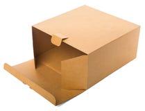 Apra la scatola di cartone isolata su fondo bianco. Immagine Stock Libera da Diritti