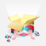 Apra la scatola magica con un fascio luminoso Fotografie Stock