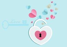 Apra la serratura del cuore Fotografia Stock