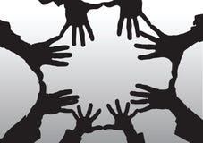 Apra la siluetta del fumetto delle mani Immagine Stock Libera da Diritti