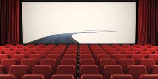 Apra la tenda e lo schermo del cinema con una strada ad in nessun posto 3d Immagine Stock Libera da Diritti
