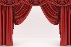 Apra la tenda rossa del teatro illustrazione di stock