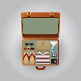 Apra la valigia con i vestiti per la spiaggia, illustrazione Fotografia Stock