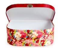 Apra la valigia decorata con i fiori Fotografie Stock Libere da Diritti
