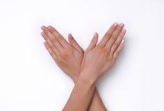 Apra le mani della donna Fotografie Stock
