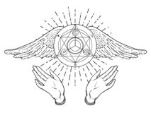 Apra le mani Illustrazione disegnata a mano Progettazione occulta con gli angeli w royalty illustrazione gratis