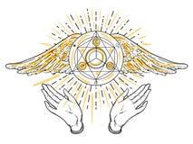 Apra le mani Illustrazione disegnata a mano Progettazione occulta con gli angeli w illustrazione di stock