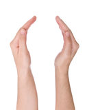 Apra le mani isolate su bianco fotografia stock libera da diritti