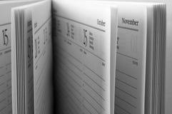 Apra le pagine di ordine del giorno Fotografia Stock Libera da Diritti