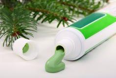 Apra un tubo di dentifricio in pasta. Fotografie Stock Libere da Diritti