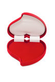 Apra una scatola operata in forma di cuore rossa vuota Fotografie Stock