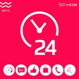 Apra ventiquattr'ore su ventiquattro l'icona Icona di simbolo di ore di apertura Fotografia Stock Libera da Diritti