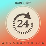 Apra ventiquattr'ore su ventiquattro l'icona di simbolo Icona di simbolo di ore di apertura Fotografie Stock