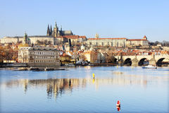 APrague gothic Castle with Charles Bridge Stock Photography
