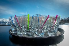 Apre ski drinking alcohol stock images
