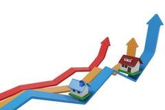 Apreciação da casa, casa na elevação da seta Imagem de Stock