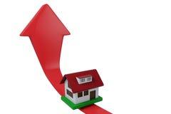 Apreciação da casa, casa na elevação da seta Fotos de Stock Royalty Free
