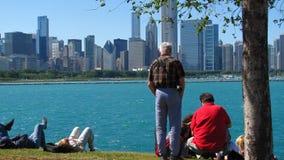 Apreciando a linha costeira de Chicago Fotos de Stock