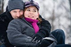 Apreciando o inverno junto Imagens de Stock Royalty Free