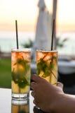 Apreciando um cocktail com sua esposa bonita, com seus diabos d Imagem de Stock Royalty Free