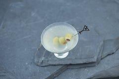 Apreciando uma gim suja recentemente agitada martini em uma noite morna do verão com amigos e família durante um partido do quint imagem de stock royalty free
