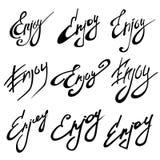 APRECIE a caligrafia Ilustração do vetor da rotulação do desenho da mão Foto de Stock Royalty Free