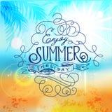 Aprecie férias de verão, cartaz da praia Borrão abstrato da costa de mar disparado na modalidade manual com Bokeh ilustração do vetor