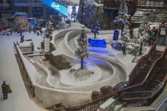 Aprecie a neve no deserto em Ski Dubai imagem de stock