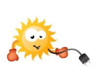 Aprecie o caráter cómico de energia solar ilustração stock