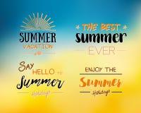 Aprecie o molde do logotipo das horas de verão Etiqueta tipográfica do projeto do vetor Rotulação dos feriados Paraíso tropical d Foto de Stock