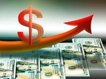 Aprecio del dólar americano, concepto del aprecio de moneda de los E.E.U.U. fotografía de archivo