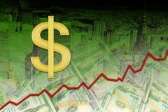 Aprecio del dólar americano, concepto del aprecio de moneda de los E.E.U.U. foto de archivo libre de regalías