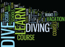 Aprenda al concepto de Dive Text Background Word Cloud Foto de archivo libre de regalías