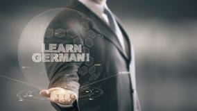 Aprenda al hombre de negocios alemán Holding del concepto del holograma a disposición ilustración del vector