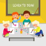Aprenda desenhar Ilustração lisa do vetor ilustração do vetor