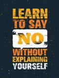Aprenda dizer não sem explicar-se Citações criativas inspiradores da motivação Bandeira da tipografia do vetor ilustração royalty free