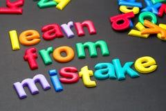 Aprenda do erro imagem de stock