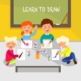Aprenda drenar Ejemplo plano del vector ilustración del vector