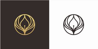 Aprenda el concepto de diseño del logotipo de la educación, logotipo de las alas, con la plantilla de lujo del logotipo del estil fotografía de archivo