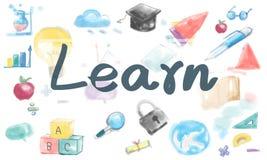Aprenda el concepto de la mejora de las ideas del conocimiento de la penetración del estudio stock de ilustración