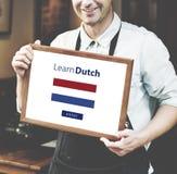 Aprenda el concepto en línea de la educación de la lengua holandesa foto de archivo