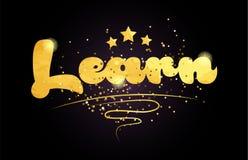 aprenda el icono de oro del logotipo del texto de la palabra del color de la estrella libre illustration