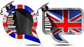 Aprenda el inglés - burbuja británica del discurso Foto de archivo